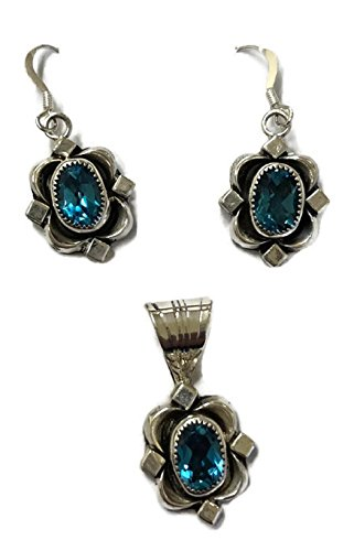 .925 Sterling Silver Native American Handmade Jewelry Blue Topaz Earring and Pendant Set by Chaco Canyon Couture