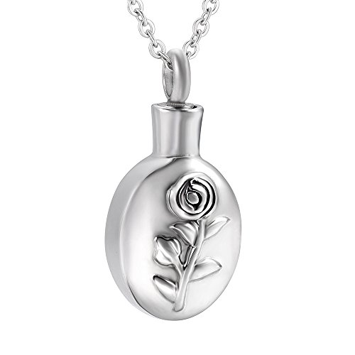 Urn Etch (SS8357 Rose Etch Little Funeral Urn Necklace Cremation Ashes Keepsake Necklace Jewelry)