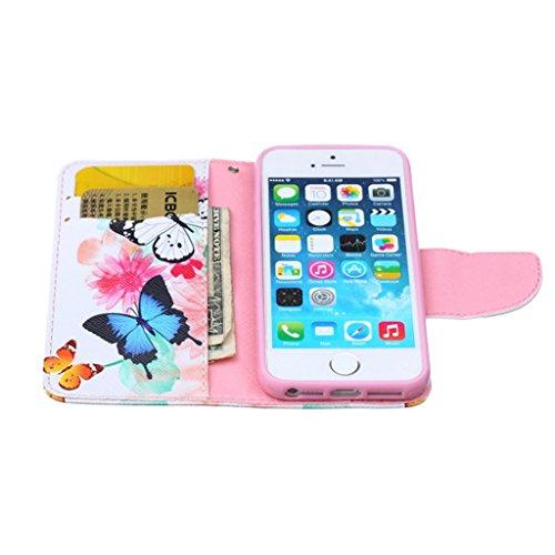 iPhone 5S Coque , iPhone 5s iPhone 5 Coque Lifetrut® [ papillon ] [Béquille Feature] [Slim Fit] Prime PU Housse en cuir Flip Cover stand avec carte Slots étui en cuir Coque Etui pour iPhone 5s iPhone