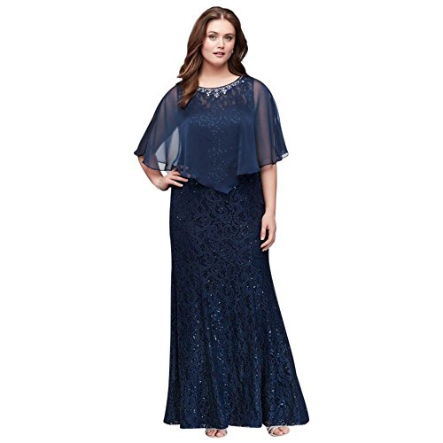 2c042f7bb27 Long Lace Plus Size Mother of Bride Groom Dress with Beaded Capelet Style  3523DW at Amazon Women s Clothing store