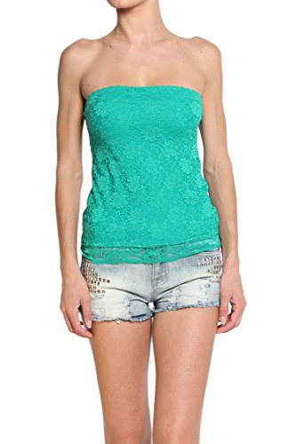 TheMogan Women's Strapless Sheer Back Stretch Lace Tube Top, Kelly Green S