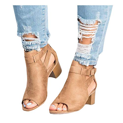 Fashare Womens Open Toe Cut Out Sandals Chunky Stacked Low Heel Ankle Strap Booties (9 B(M) US, Brown)