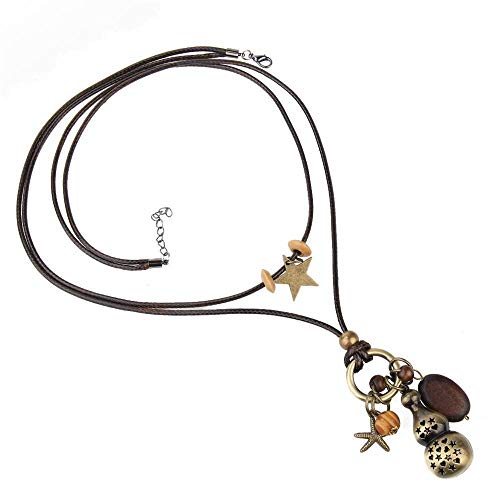 Jewelryamintra Double-Decker Gourd Necklace Fashion Long Dress Accessories Hang Sweater Chain ()