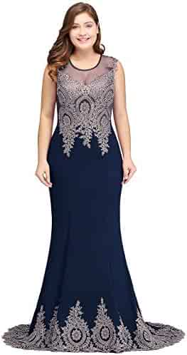 b3551b16d017 MisShow Women's Embroidery Lace Long Mermaid Formal Evening Prom Dresses
