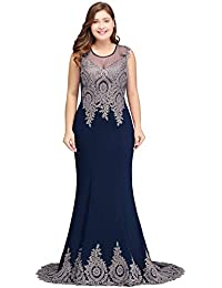 f347e129867 Women s Embroidery Lace Long Mermaid Formal Evening Prom Dresses