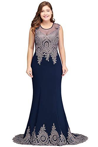 MisShow Embroidery Lace Long Mermaid Formal Evening Prom Dresses,Navy,Size 18W ()