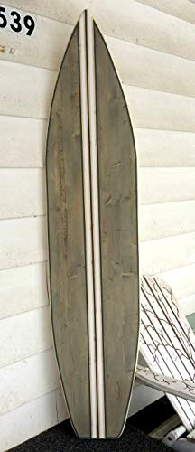 Surf Wood - 6 foot wood surfboard wall art stained gray with multiple stripes and gray border