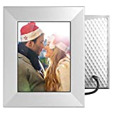 """Nixplay W08E- Silver Iris 8"""" Wi-Fi Cloud Digital Photo Frame with IPS Display, iPhone & Android App, iOS Video Playback, Free 10GB Online Storage, Alexa Integration and Activity Sensor, Silver"""