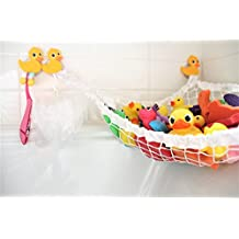 MiniOwls Bathtub Toy Storage Hammock - with 3 Yellow Duck Suction Cups & FREE Toothbrush Holder - 3% donation to Autism Foundation. (Yellow)