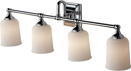 (Feiss VS27004-CH Harvard Glass Wall Vanity Bath Lighting, Chrome, 4-Light (33