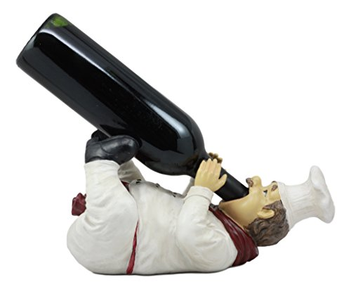 Cheap Ebros Chef Chardonnay Drunken French Bistro Chef Wine Holder Figurine Kitchen Tabletop Countertop Decor Rack Kitchen Cook Statue