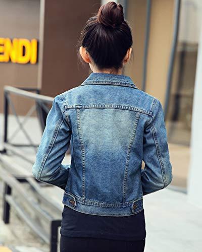 Pulsante Zongsena Jeans Giacca Giacche Cappotto Chiaro Lunghe Di Maniche Corto A Donna Azzurro SHwzqS1