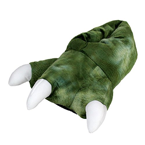 Dinosaur Feet Slippers with Sound - Plush Dragon Claw Animal Slippers - for Home or Costume Green ()