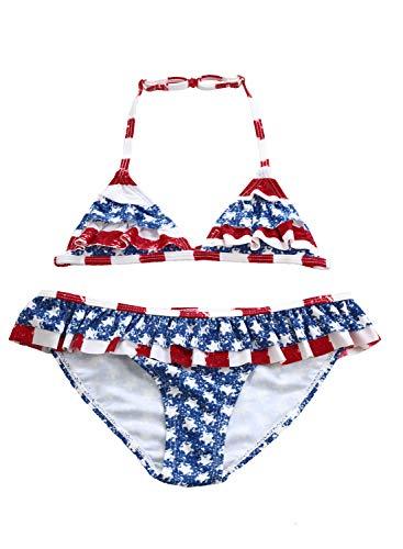 Aleumdr Girls' Layered Ruffle Trim American Flag Bathing Suit Beach Bikini Swimsuit for 7Y-8Y ()
