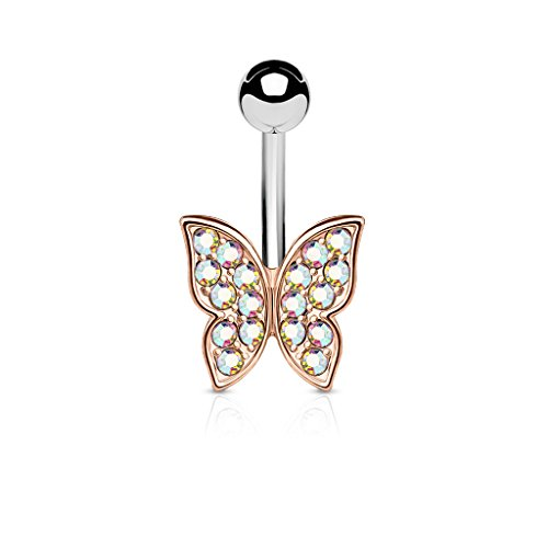 Pierced Owl CZ Crystal Paved Butterfly Belly Button Ring in 316L Stainless Steel (Rose Gold Tone/Aurora Borealis)