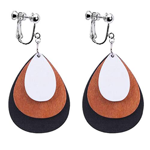 Clip on Earrings for Girls Women Handmade Delicate Oval Drop Wooden Silver Tone Plated Banquet Gifts ()