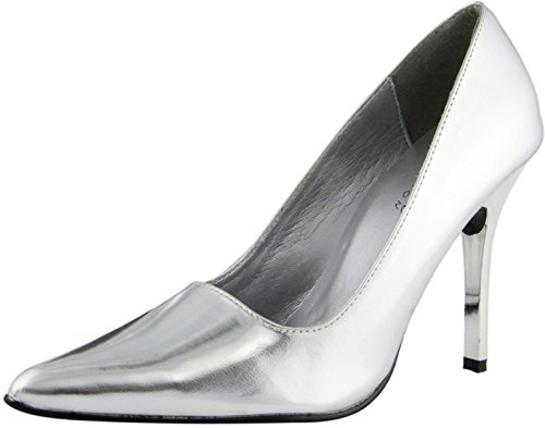The Highest Heel Women's CLASSIC , Silver Metallic , Pump, 7.5 B(M) US (Classic Metallic Pumps)