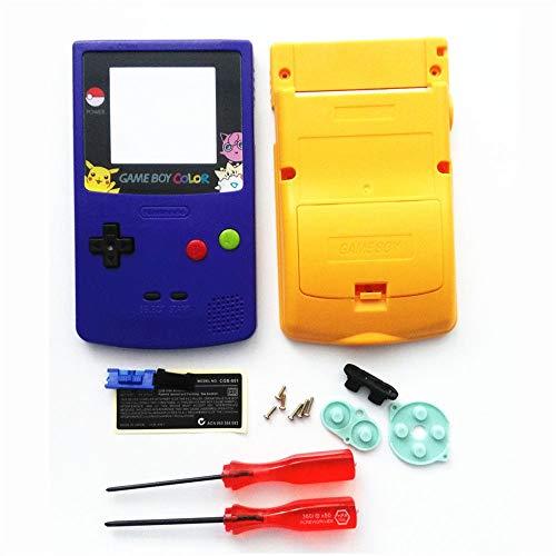 (FidgetKute Limited Edition Purple Yellow Full Housing Shell for Nintendo Game boy Color GBC )