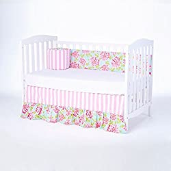 CRIB,BEDDING,SETS, FOR,BABY GIRL,PINK FLOWERS,(BUMPER AND CRIB SKIRT),SO SWEET (PAM BEACH PREPPY),BY ROCKINGHAM ROAD,MADE IN THE USA.