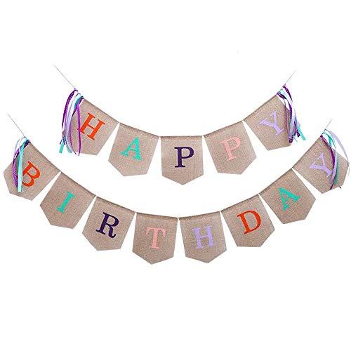 Tellpet Burlap Happy Birthday Banner, Colorful Alphabet Letter Birthday Banner -