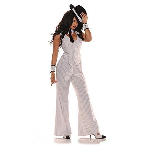 Women's Mob Boss Costume, White/Black, Medium -