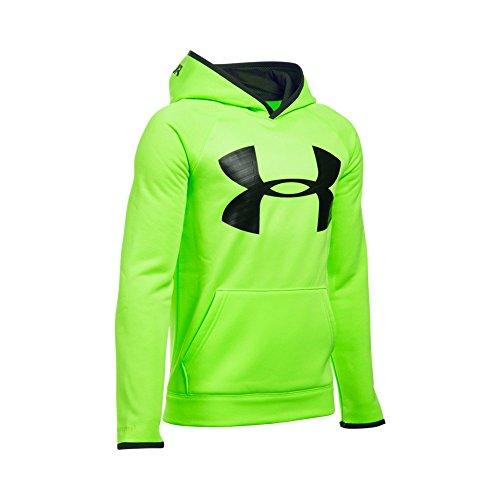 Under Armour Boys' Storm Armour Fleece Highlight Big Logo Hoodie, Fuel Green/Black, Youth X-Small