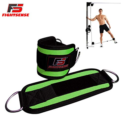 (FIGHTSENSE FS Ankle D-Ring Strap Pair Workout Cuffs Straps Cable Machine Double Ring Lifting Attachment Multi Gym Leg Thigh Pulley (Green))