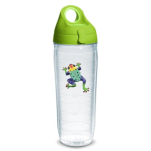 Tervis 1230684 Green Frog Tumbler with Emblem and Lime Green Lid 24oz Water Bottle, Clear - Tumbler Frog