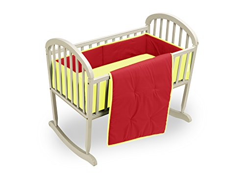 Baby Doll Bedding Solid Reversible Cradle Bedding Set, Red/Yellow by BabyDoll Bedding