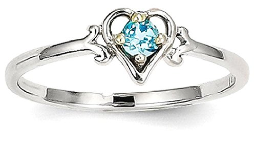 ICE CARATS 14k White Gold Blue Topaz Birthstone Heart Band Ring Size 7.00 S/love December Style Fine Jewelry Gift Set For Women Heart by ICE CARATS
