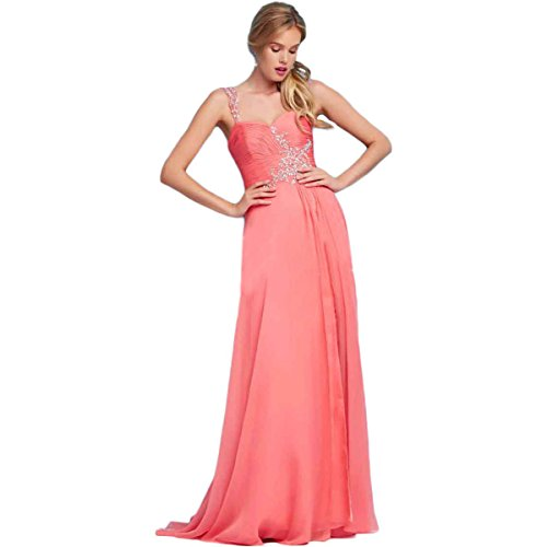 Mac Duggal Womens Chiffon Embellished Formal Dress Pink 2 Our Lady