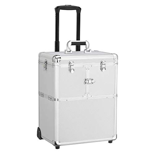 Topeakmart Multifunction Rolling Cosmetic Case Train Case Makup Trollry Beauty Toolbox Lock Wheel Trays Large Travel Cosmetic Box Silver