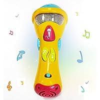 Juguete micrófono de karaoke infantil Wishtime, micrófono de karaoke de niño pequeño cantando pra grabadora, con música y luz (el color puede variar)