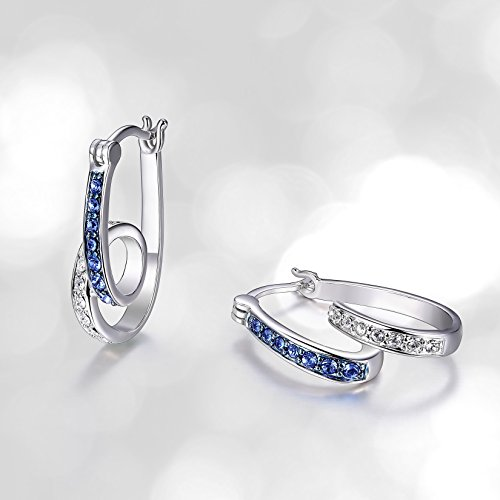 Amazon Collection Sterling Silver Montana Blue and White Swirl Hoop Earrings Made with Swarovski Crystal