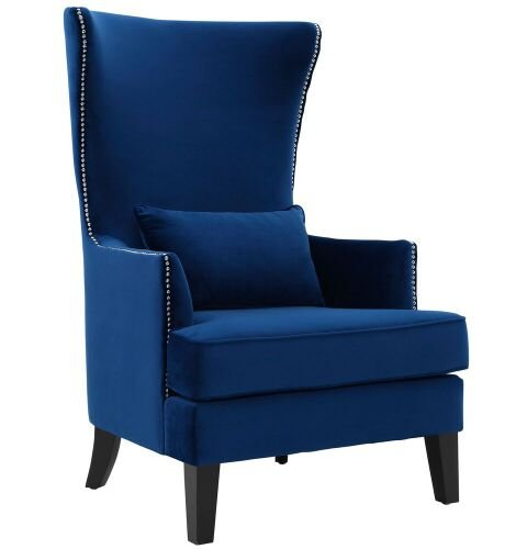 - Tov Furniture The Bristol Collection Contemporary Velvet Upholstered Tall Living Room Parlor Chair with Nailhead Trim, Navy