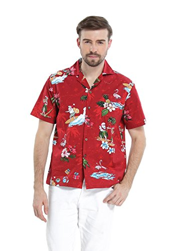 Hawaii Hangover Men's Hawaiian Shirt Aloha Shirt L Christmas Shirt Santa ()