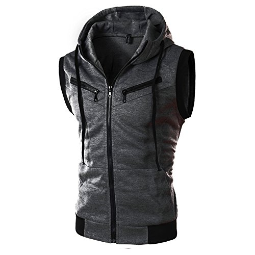 Chen Men Pocket Active Zip Up Drawstring Sleeveless Hood Vest Contrast Cardigan (US 44, Dark Gray)