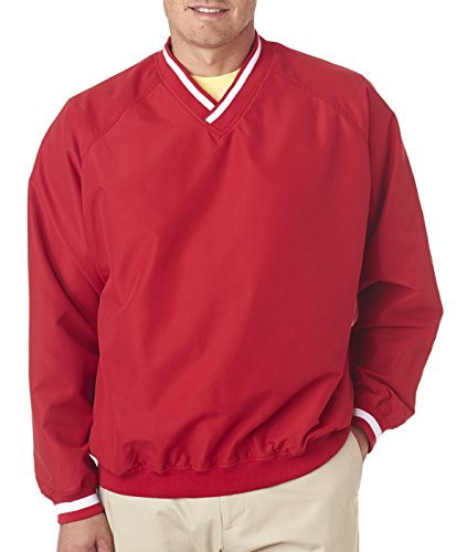 (UltraClub Adult Cross-Over V-Neck Microfiber Windshirt, Red/Wht, Medium)