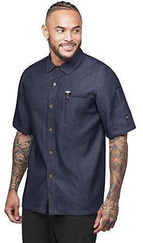 - Industry Line Mens Chambray Kitchen Shirt with Contrast Stitching (XXX-Large, Blue Chambray)