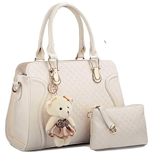 Women's Fashion Handbags PU Patent Leather Ladies Elegant Top-Handle Purse Ladies Pocketbook (off white) (Beste Brille Fall)