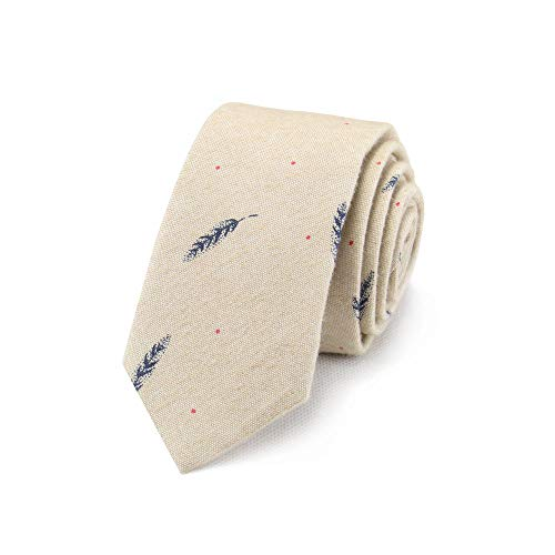 (Skinny Cotton Tie for Men Beige Cravat Ties Feather Patterned Handsome Birthday Gift for Guys)