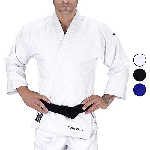 Elite Sports Adult Judo GI Uniform Double Weave IJF Approved Judo Suit Kimono GIS (White, 1)