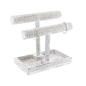 "Deco 79 30963 Double T-Bar Mango Wood Jewelry Holder, 12"" x 11"", White"
