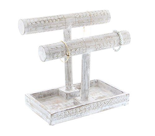 "Deco 79 30963 Double T-Bar Mango Wood Jewelry Holder, 12"" x 11"", White"