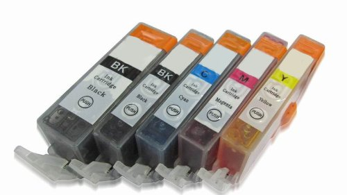 5-Pack Non-OEM Ink w/ Chip for Canon PGI-5BK CLI-8 Compatible Pixma MP500 MP530 MP600 MP800 iP4200 iP4300 iP4500 iP5200 iP5200, Office Central