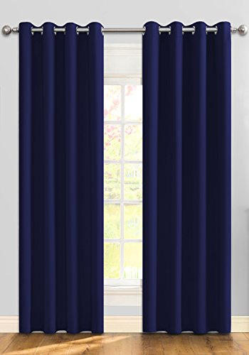 Ifblue Home Décor Room Darkening Thermal Insulated Grommet Window Treatments Blackout Curtains / Draperies for Bedroom Living Room set of 2 Panels 52 X 72 Inch Navy Blue(Without Rod)