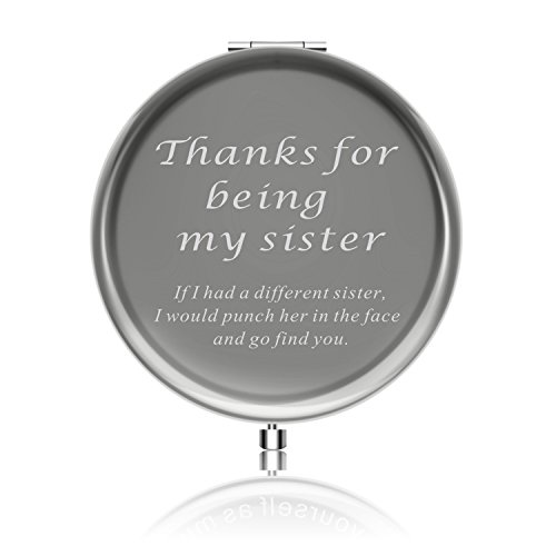 Best Sister Gifts from Sister Ideals Birthday Anniversaries Gift to Sister from Sister Makeup mirror with Gift Box (Thanks for being my sister) (Best Anniversary Gifts For Sister)