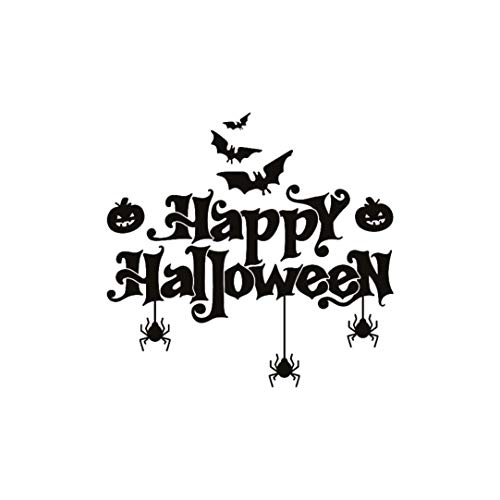 Exteren Happy Halloween Bats Spider Wall Sticker Window Home Decoration Decal Decor for Living Room Kitchen Bathrooms Bedroom etc (Black) -