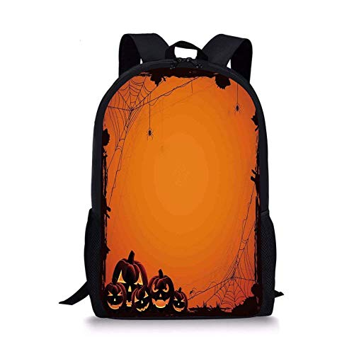 School Bags Halloween Decorations,Grunge Spider Web Pumpkins Horror Time of Year Trick or Treat,Orange Seal Brown for Boys&Girls Mens Sport -