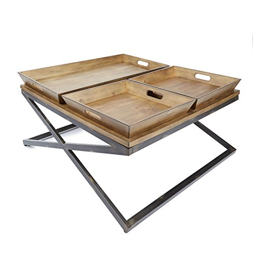 Silverwood FT1150-COM Calhoun Industrial Collection Coffee Table, 38″ L x 38″ W x 19″ H
